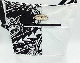 Large Handbag, Shoulder Bag, Bucket Bag, Purse in Black & White Tribal Print - Made in Maui