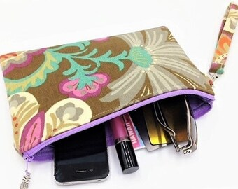 Clutch, Wristlet, Clutch Purse, Evening Bag, Bridesmaid Clutch, Zippered Bag in Fall Floral Paisley -