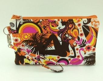Clutch, Wristlet, Clutch Purse, Evening Bag, Bridesmaid Clutch, Zippered Bag in Mod Girl Print