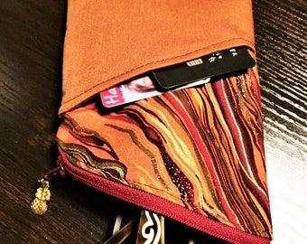 Sunglass Case, Eyeglass Case in Brown, Burgundy, Orange & Gold Metallic Marbling