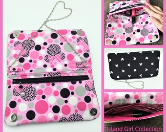 Wallet, Purse, Makena Wallet Purse, Clutch, Evening Bag, Zippered Clutch in Famous Mouse Ears