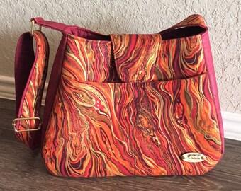 Handbag, Cork Handbag, Shoulder Bag, Purse, Tote Bag, Summer Bag in Metallic Abstract Marbling & Cork Leather with Adjustable Shoulder Strap