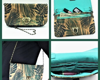 Cork Wallet, Cork Purse, Makena Wallet Purse, Clutch, Evening Bag, Zippered Clutch in Tropical Leaf Print Cork Fabric