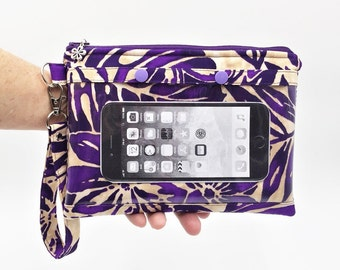 Smartphone Wristlet, Cell Phone Clutch, Touch Screen Wristlet, Zipper Clutch, Tropical Wristlet in Purple Petals Floral Print