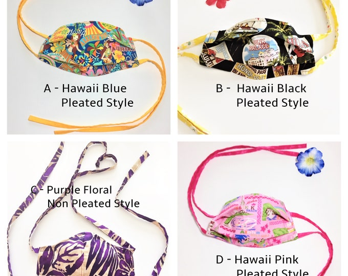 Face Mask with Filter Pocket with Cloth Ties, Reusable Mask, Face Covering, Hawaii Mask, Fabric Mask - Ready to Ship