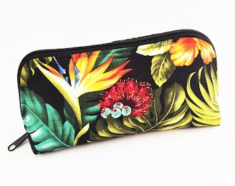 Cosmetic Bag, Tropical Pouch, Travel Bag, Zippered Bag, Notions Bag, Dumpling Bag - Large