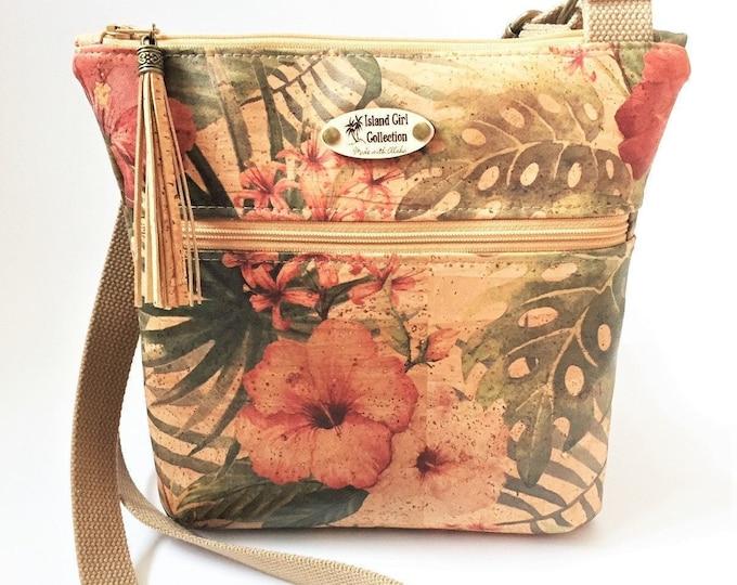 Cork Cross Body Bag, Double Zipper Cross Body Bag,  Tropical Bag, Travel Bag in Vintage Hibiscus Cork Leather