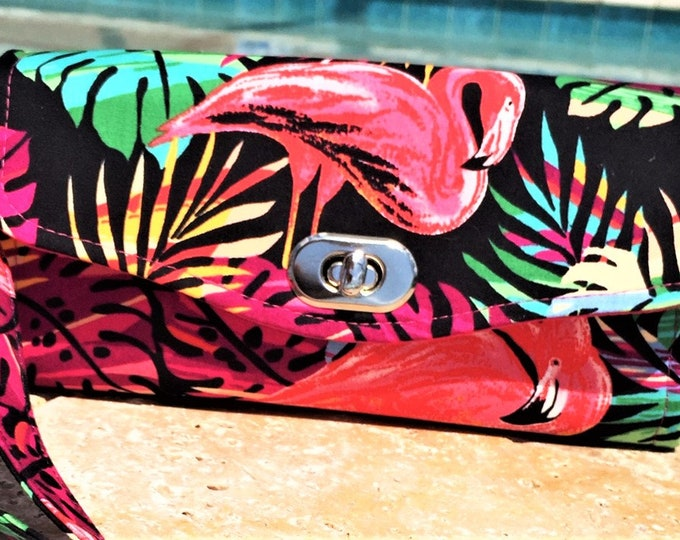 Featured listing image: Flamingo Wallet, Travel Bag, Crossbody Bag, Organizer Wallet, Tropical Bag, NCW, Necessary Clutch Wallet