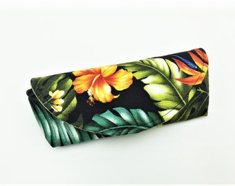 Sunglass Case, Eyeglass Case, Sunnies Case, Shades Pouch, Sunglass Pouch, Eyeglass Holder in Hawaiian Floral