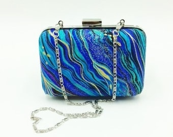 Clutch, Bridesmaid Clutch, Mini Clamshell Clutch, Evening Clutch, Cocktail Clutch in Abstract Blue Marbling Metallic