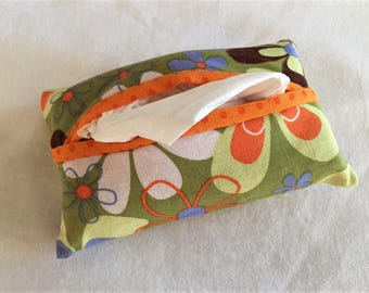 Tissue Holder, Business Card Holder, Credit Card Holder in Mod Green Flowers - Made in Maui
