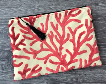 Clutch, Clutch Purse, Evening Bag, Zippered Bag, Slouchy Bag,  Cosmetic Bag in Coral Design