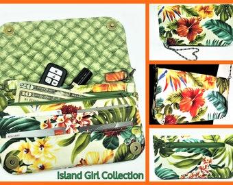 Wallet, Purse, Makena Wallet Purse, Clutch, Evening Bag, Zippered Clutch in Hawaiian Floral