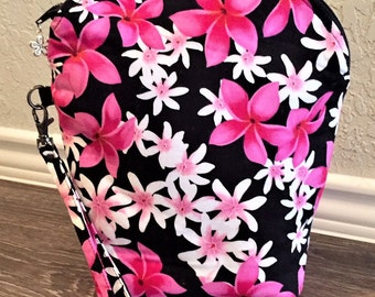 Zipper Pouch, Cosmetic Pouch, Project Bag, Travel Bag in Pink & White Plumeria on Black