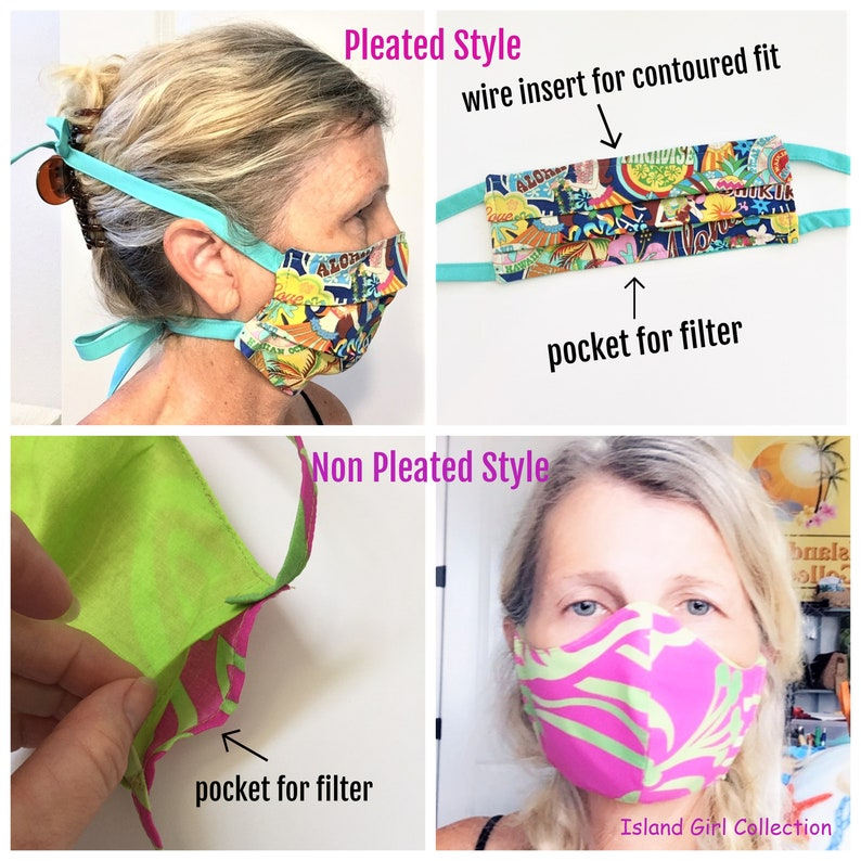 Custom Order Face Mask with Elastic or Cloth Ties Reusable image 0