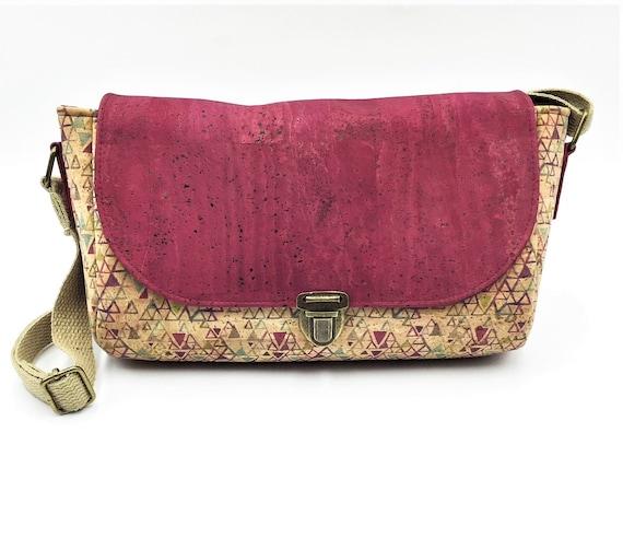 Cork Cross Body, Cross Body Bag, Saddlebag Cross Body, Handbag, Travel Bag, Small Shoulder Bag in  Leaf Cork Leather