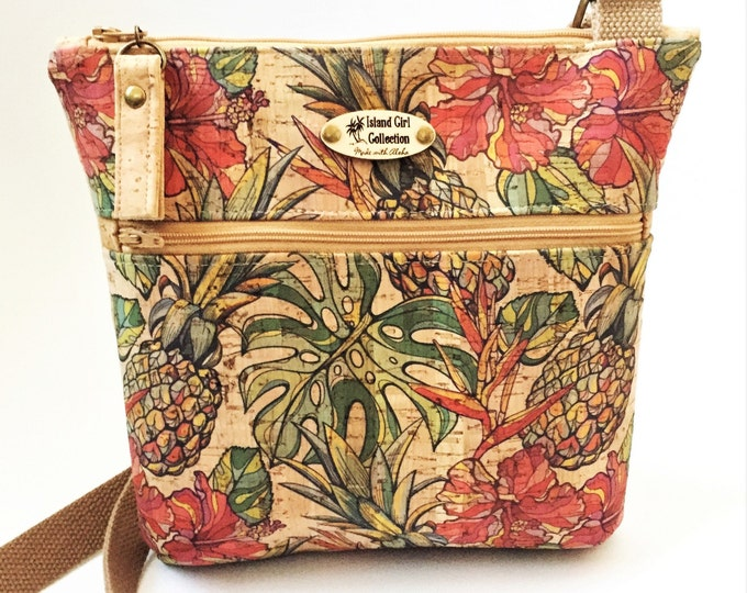 Cork Cross Body Bag, Double Zipper Cross Body Bag,  Tropical Bag, Travel Bag in Pineapple, Hibiscus & Monstera Leaf Print