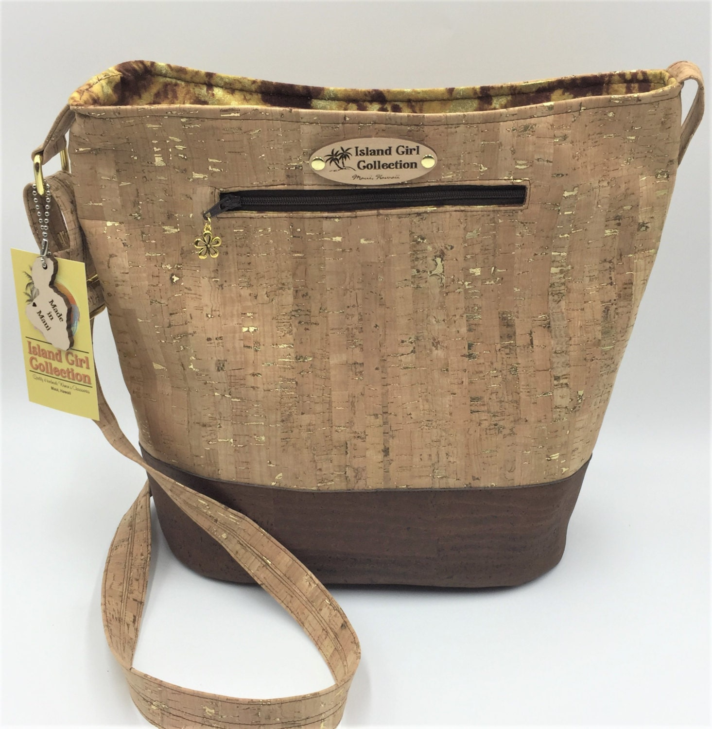 79f47f85f Large Handbag, Shoulder Bag, Bucket Bag, Purse in Brown & Light ...