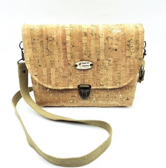 Cork Cross Body, Cross Body Bag, Saddlebag Cross Body, Handbag, Travel Bag, Small Shoulder Bag in Natural Gold Fleck Cork Leather