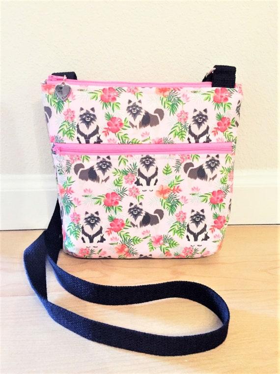 Double Zipper Cross Body Bag,  Keeshond Cross Body Bag, Travel Bag, Shoulder Bag in Keeshonds with Hibiscus in Pink