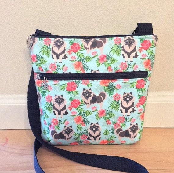 Double Zipper Cross Body Bag,  Keeshond Cross Body Bag, Travel Bag, Shoulder Bag in Keeshonds with Hibiscus Teal Blue
