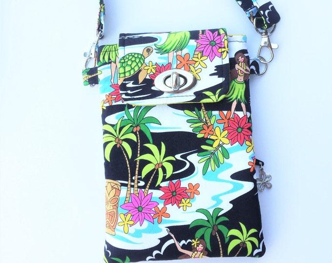 Cell Phone Bag, Crossbody Bag, Travel Bag, Cell Phone Wallet, Waist Bag, Hawaiian Bag in Hula Girls