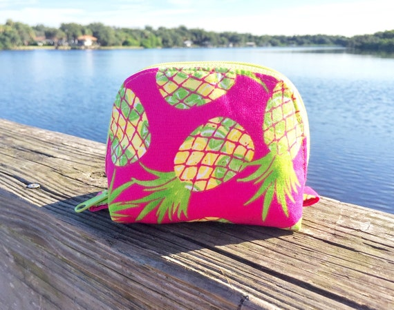 Essential Oil Bag, Essential Oil Pouch, Oils Storage Bag, Oils Travel Pouch, Dumpling Bag, Oils Carrying Case in Bright Pineapples - Small