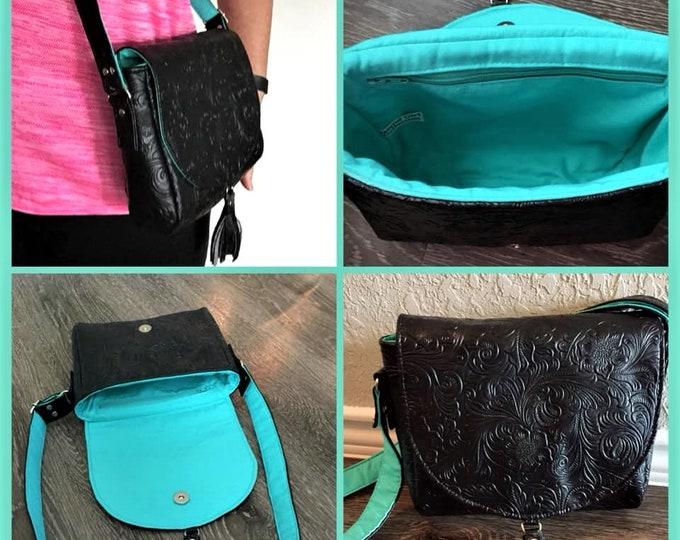 Cross Body Bag,  Saddlebag  Cross Body, Travel Bag, Small Shoulder Bag in Embossed Black Vinyl