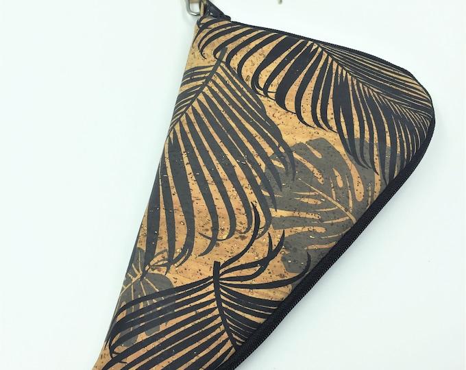 Handgun Case, Soft Pistol Case, Pistol Carrying Case in Tropical Leaf Print Cork Leather