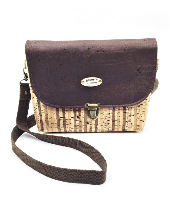 Cork Cross Body, Cross Body Bag, Saddlebag Cross Body, Handbag, Travel Bag, Small Shoulder Bag in Natural Striped Cork Leather