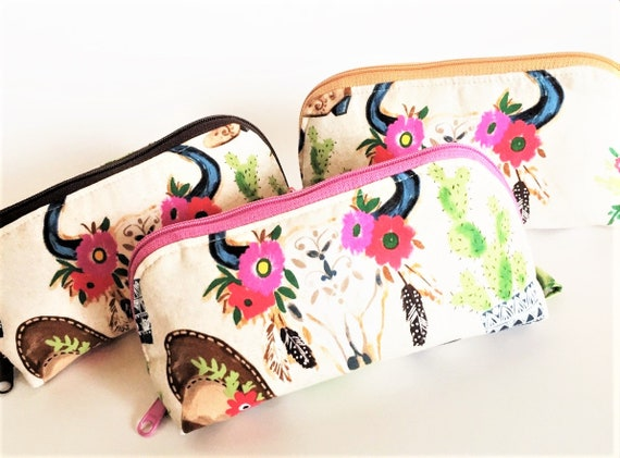Essential Oil Bag, Essential Oil Pouch, Oils Storage Bag, Oils Travel Pouch, Dumpling Bag, Oils Carrying Case in  Floral Cowgirl- Large
