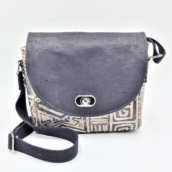 Cork Cross Body, Cross Body Bag, Saddlebag Cross Body, Handbag, Travel Bag, Small Shoulder Bag in Aztec Print Cork Leather