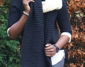 Chunky Knitted Scarf, Super Chunky, Extra Long knitted Scarf, Black and White Scarf, for him, for her