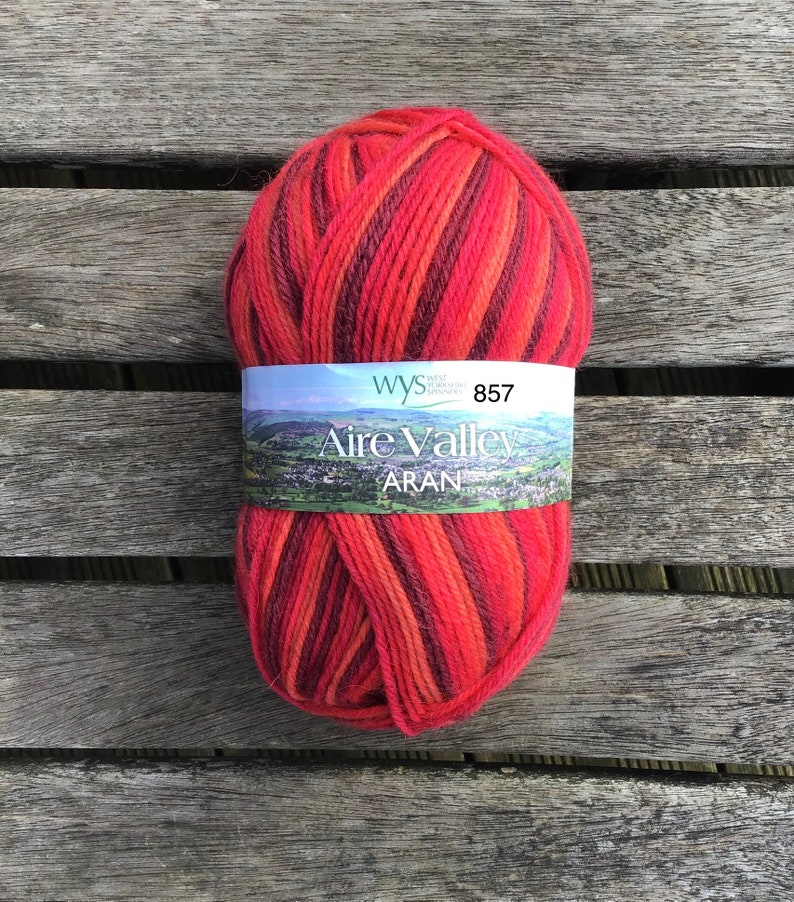 WYS Aire Valley Aran Red Stripe image 0