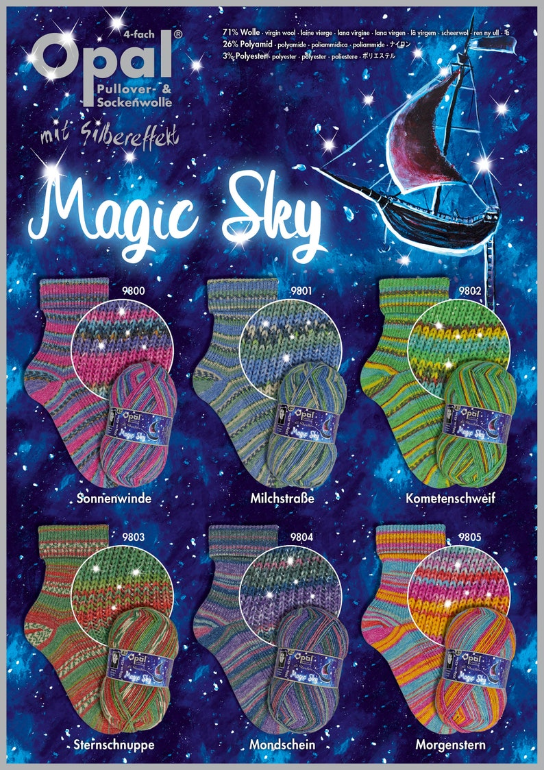 New Opal  Magic Sky 4 Ply Sock Yarn image 0