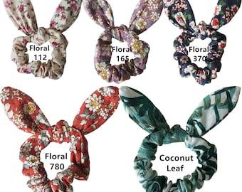 Cotton Fabric Rabbit Ears Hair bands Bunny Ears Hair Bow Tie Elastic  Ponytail Holder Floral Hair Scrunchie Girls Women Hair Accessories df1a1794cf0
