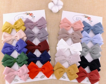Blue Striped Baby Bows Sky Linen Hair Bow Set Baby Linen Bows Pig Tail Bows Blue Pigtail Bows Linen Baby Bows Blue Linen Hair Bows