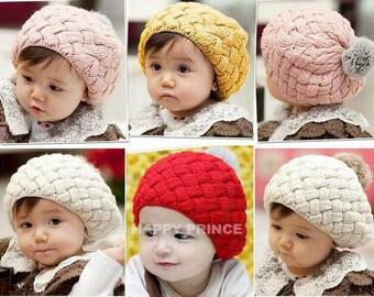 Baby hat Crochet beanie Winter hat Toddler hat Baby beanie Kids Beret Pink hat Red hat Yellow hat Cream hat