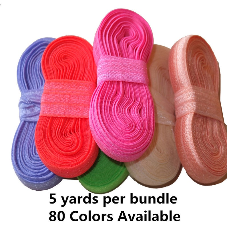 5 yards/color Elastic bands 5/8''Fold Over Elastic image 0