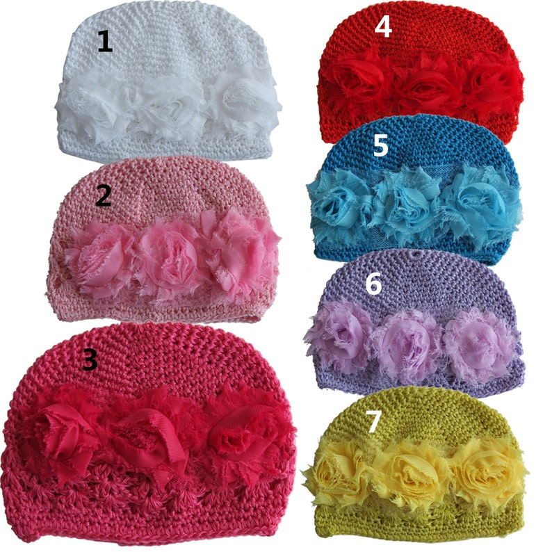b2252fb46d7 Crochet knitted Baby hat with flowers kids warm cap children