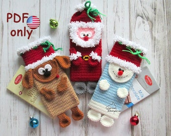 Crochet pattern - A set of Santa Dog Snowman Christmas cases cover cozy 3 in 1