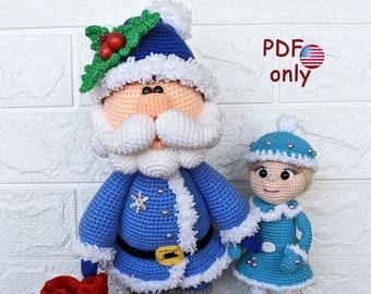 Crochet patterns - Santa and Queen of Frost amigurumi Christmas dolls (English)
