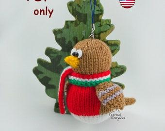 Knitting patterns - Robin bird Christmas decoration amigurumi toy animal