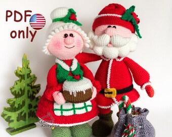 Crochet patterns - Santa and Missis Santa Claus amigurumi Christmas dolls (English)