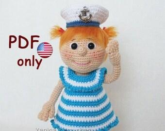 Crochet pattern - Ellie the Sailor girl amigurumi doll (English)