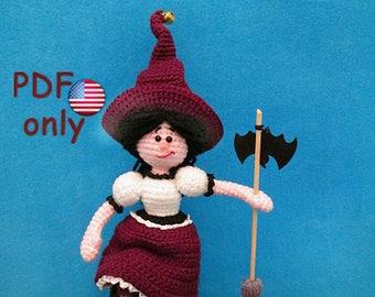 Crochet pattern - Cute little Witch amigurumi Halloween doll