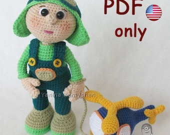 Crochet pattern - Two toys - Aviator and Helicopter amigurumi doll (English)