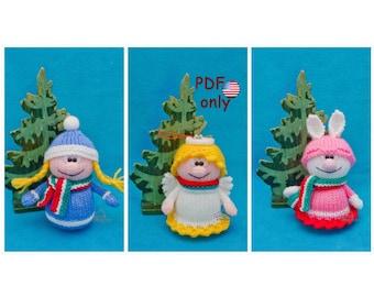 Knitting patterns - Christmas girl Angel Hare Christmas decorations amigurumi toys animals 3in1 (English)