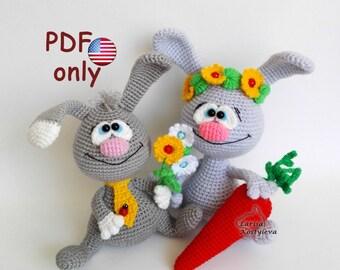 Crochet pattern - Easter Rabbit Hare Bunny amigurumi animal (English)