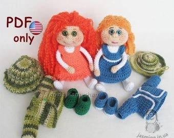 Crochet and knitting pattern - Two toys - Best friends amigurumi dolls with clothes (English)